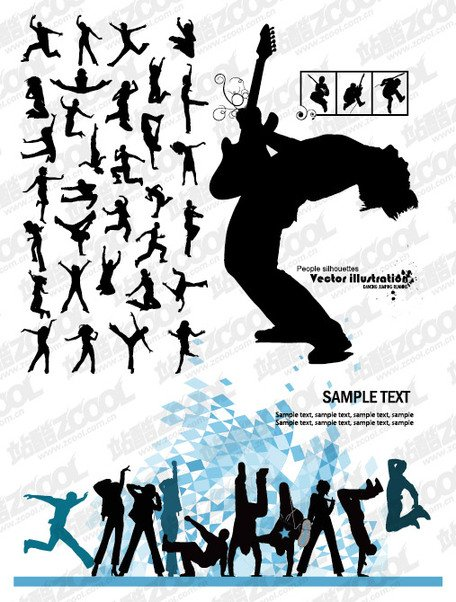 Music and dance the tide of people silhouettes vector materi