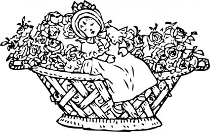 Baby In Rose Basket