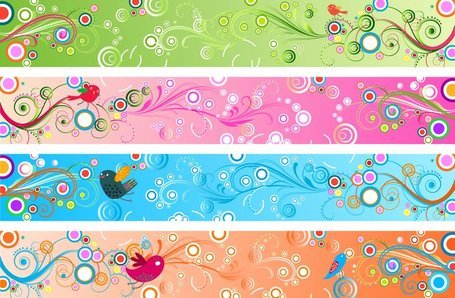 Banners florales retro