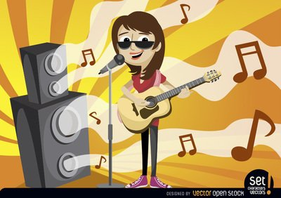 Girl singing and playing guitar