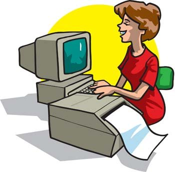 Office woman printing her report