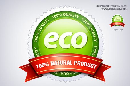 Eco Friendly Seal ikonen (PSD)