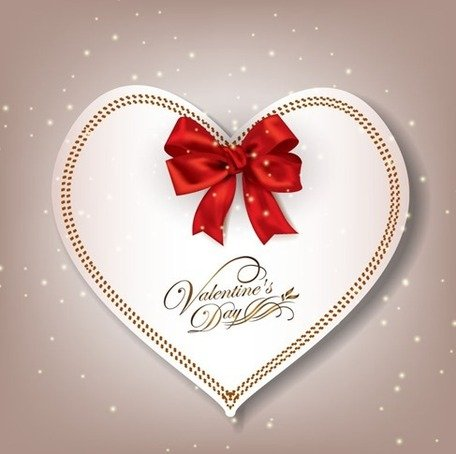 Elegant Heart Shaped Card With Red Bow Valentines Day