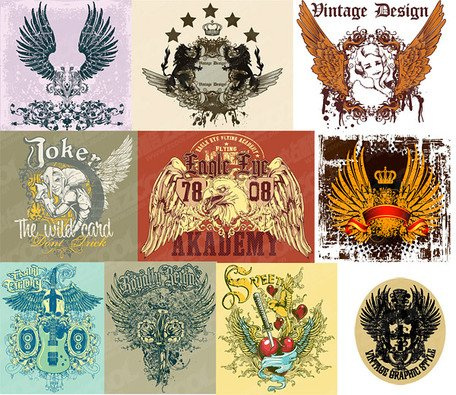 10 wings theme of the trend of T-shirt design Vector materia