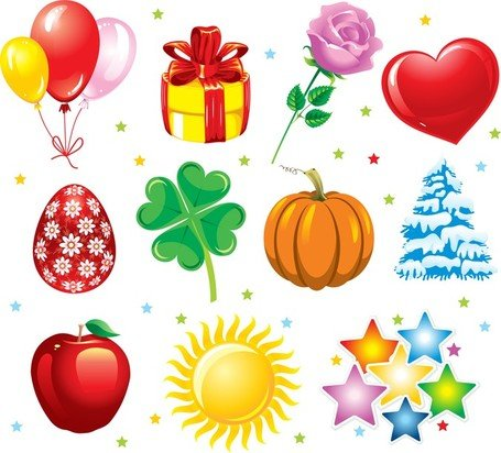 Holiday Objects Vector Set
