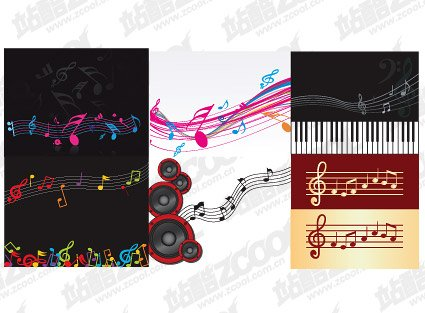 6 Theme music material vectors