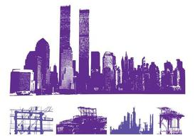 Skyline urbano grafica Set