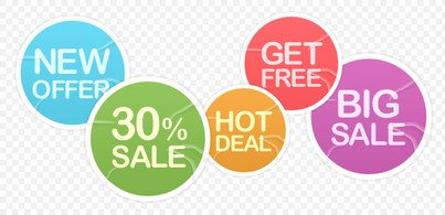 5 badly glued sale stickers (Free PSD)