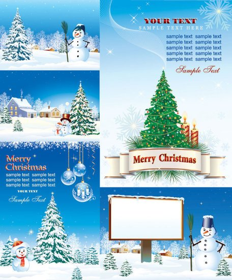 Vector Christmas Snow vakantie Label