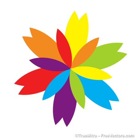 Flower colorful. Free colored design clipart