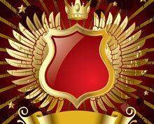 Red Banner With Gold Wings