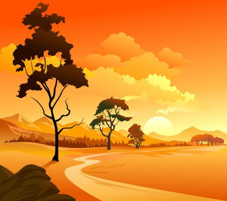 Gratis vector over cartoon landschap