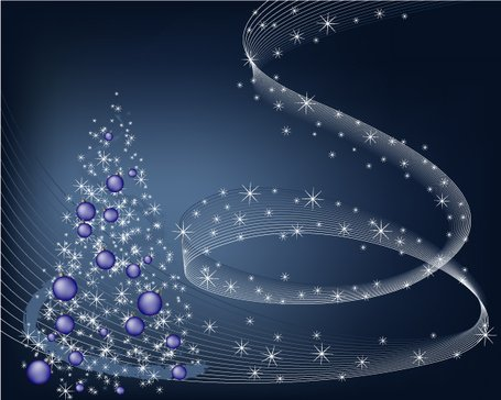 Abstract Winter Blue Background with stars and Christmas Tree