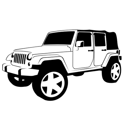 Black & White Hand Traced Jeep Wrangler Vacuum Clipart Black And White