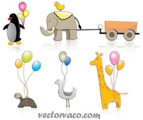 Animal Cartoon Clipart Vector Pack Free