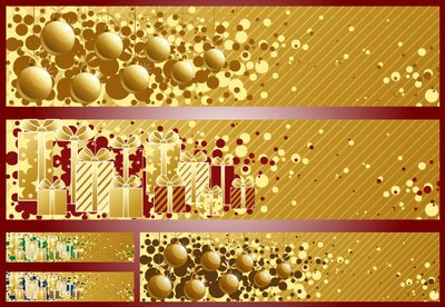 3 Golden Striped Christmas Banners