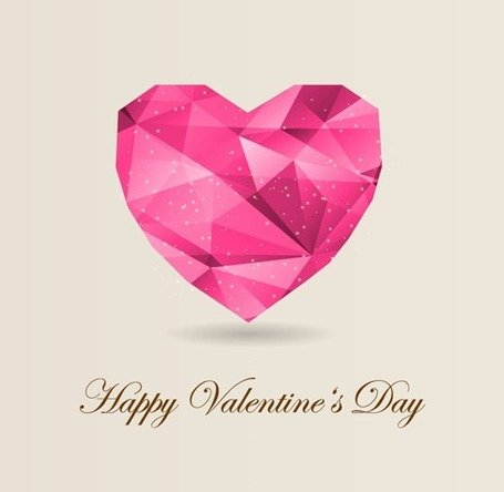 Abstract Origami Heart Love Background for Valentine's Day