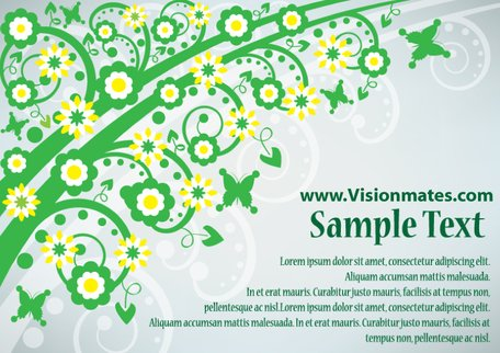 Green Business Card With Flowers