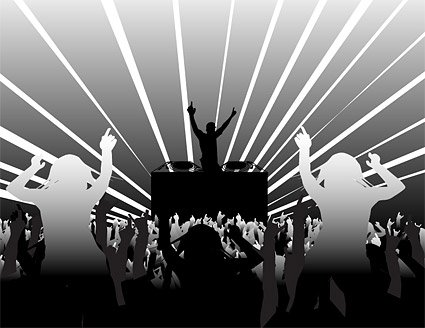 Super-type DJ and dancing figures in silhouette vector mater