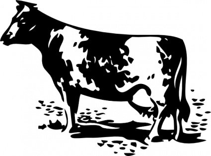Cow standing. Free clipart and vector