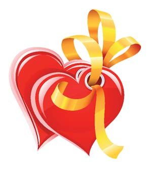 Hearts vector with gold ribbon