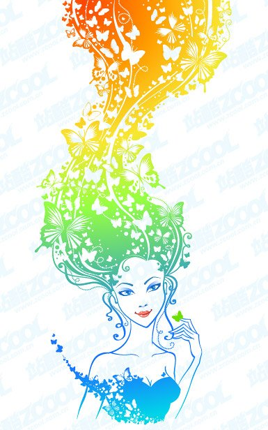 Vector material girl's colorful hair