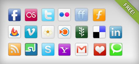 20 kostenlose Social Network Icons