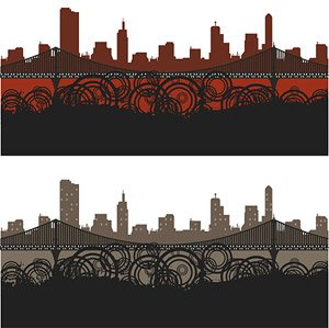 City silhouette vector element material trends
