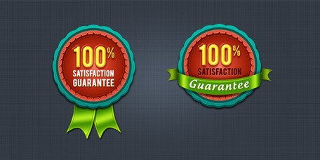100% satisfaction guarantee badge & seal (PSD)