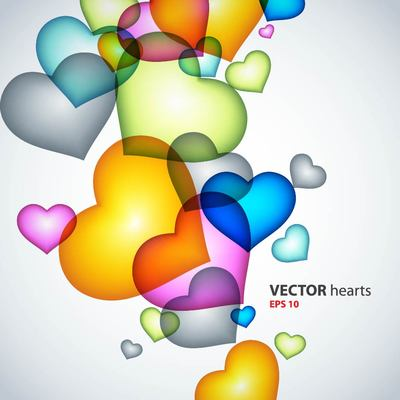 Fluorescent Colorful Heart Background