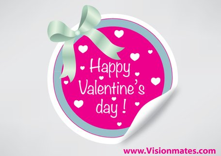 Vector Round Sticker For Valentine