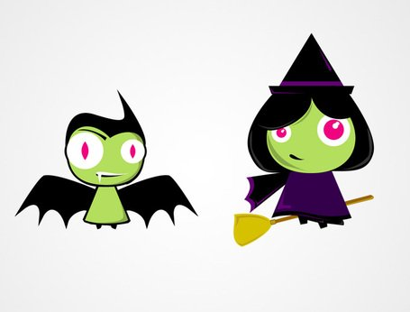 Cute Halloween tekens: Bat & heks vectoren (gratis)