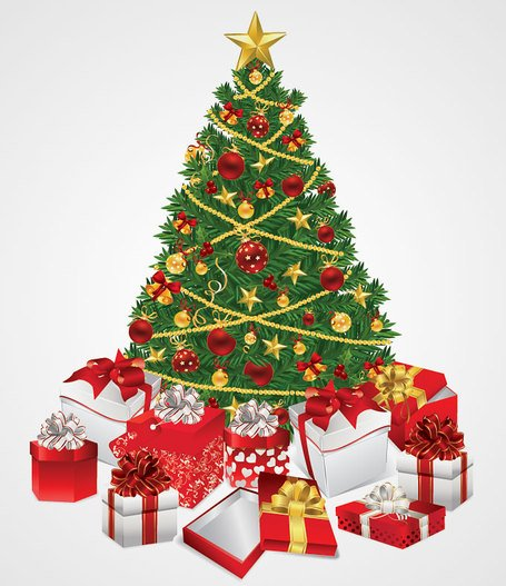 Christmas Tree with Gifts Vector Illustration (Free)