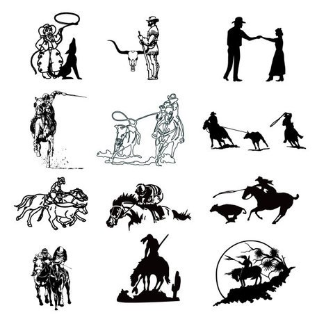 Series of black and white painting of a cowboy
