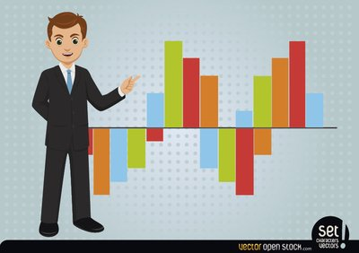 Young Businessman Showing Bar Graph