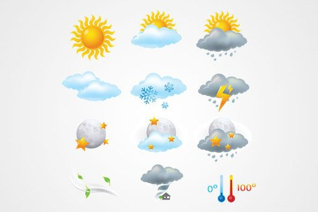 Weather Icons: Sun, Clouds, Rain and Lightning (Free)