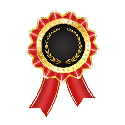Glossy Award Badge With Ribbon Vector Graphics Clipart Me