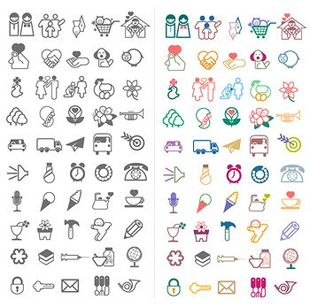 Cartoon-style utility lines, vector icons