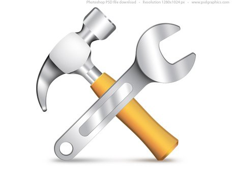 Settings icon, PSD hammer and wrench