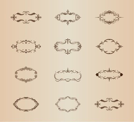 Retro ornamentale Rahmen Vector-Set