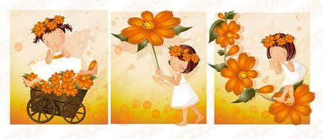 Orange daisy theme (South Korea iClickart Four Seasons cute