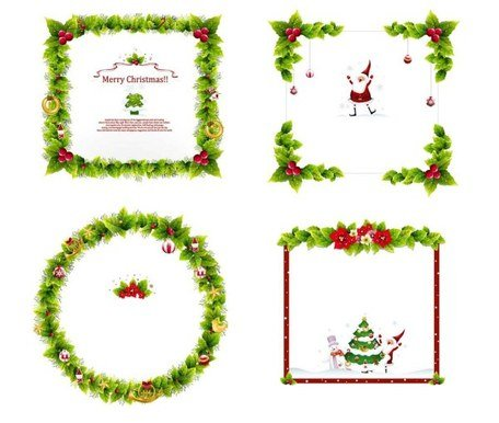 4 Christmas garland border