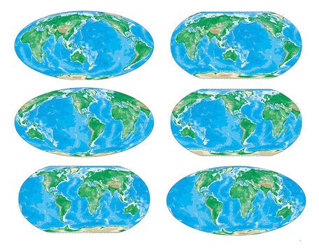 Various color version of Vector world map