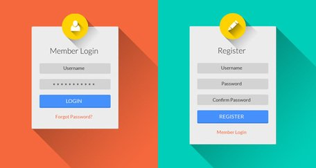 Flache lange Schatten Login & Register UI PSD