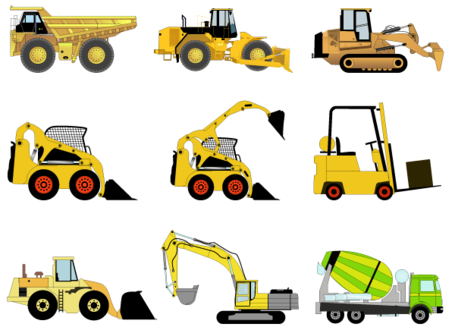 Free Construction Machines Vector Pack 1