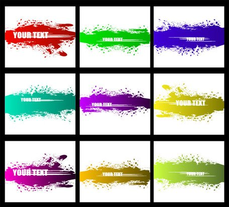 Vector material colorful ink strokes