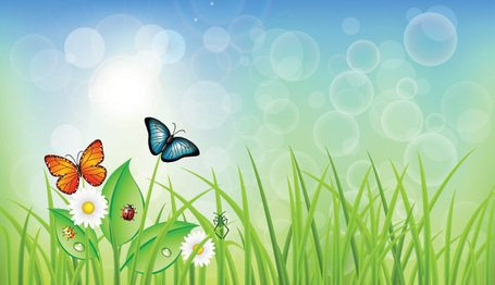 Green Spring Background with Grass & Butterflies (Free)