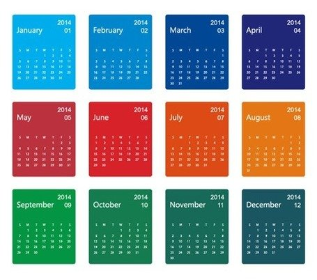 Colorful Design 2014 Calendar