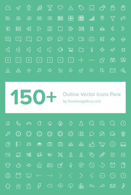 150 + contour Vector Icons Pack
