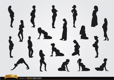 Pregnant woman silhouettes